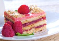 De cake van de framboos Stock Afbeeldingen