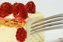 De cake van de framboos Stock Foto