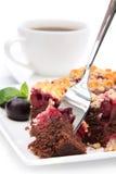 De cake van de kers met kop van koffie Royalty-vrije Stock Fotografie