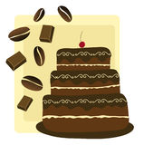 De cake van de koffie & van de chocolade Royalty-vrije Stock Fotografie