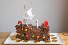 De Cake van de piraatchocolade Stock Foto's