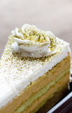 De cake van de plakkoffie met groen theebovenste laagje, eigengemaakt voedsel, zachte FO Stock Afbeeldingen