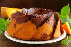 De cake van de pompoenchocolade Stock Foto's