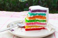 De cake van de regenbooglaag Stock Foto's