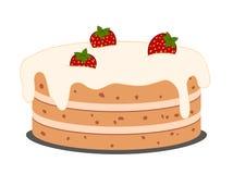 De cake van de tekening met aardbeien Royalty-vrije Stock Foto