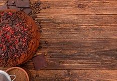 De cake van de truffelchocolade Achtergrond Stock Foto