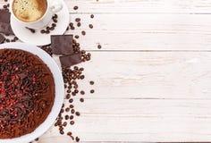 De cake van de truffelchocolade Achtergrond Stock Fotografie