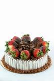 De cake van de vanille met aardbeien Stock Afbeelding