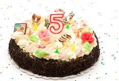 De cake van de verjaardag 5 jaar Stock Afbeeldingen