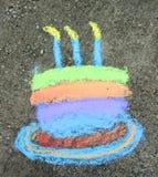 De Cake van de verjaardag in krijt Stock Afbeelding
