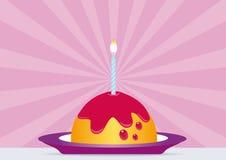 De Cake van de verjaardag met Aangestoken Kaars Stock Foto