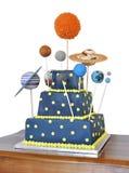De cake van de verjaardag met astronomiethema Royalty-vrije Stock Afbeeldingen