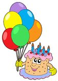 De cake van de verjaardag met ballons Royalty-vrije Stock Afbeelding