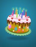 De cake van de verjaardag met het branden van kaarsen Stock Afbeeldingen