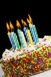 De Cake van de verjaardag met Kaarsen Royalty-vrije Stock Afbeelding