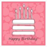 De cake van de verjaardag met kaarsen Royalty-vrije Stock Fotografie