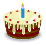 De cake van de verjaardag met kersen Stock Foto
