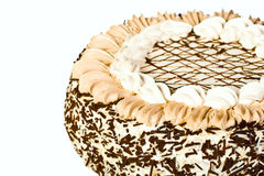 De cake van de verjaardag met vla Stock Afbeeldingen