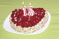 De cake van de verjaardagsframboos Royalty-vrije Stock Foto's