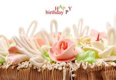 De cake van het deel op een witte achtergrond Stock Foto