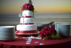 De Cake van het huwelijk bij het Strand en de Oceaan erachter Royalty-vrije Stock Foto's