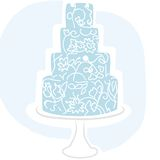 De cake van het huwelijk - blauw Stock Fotografie