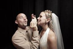 De cake van het huwelijk het voeden stock afbeeldingen