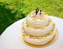 De cake van het huwelijk met rozen en hazelnoot Stock Afbeeldingen