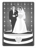 De Cake van het huwelijk met topper Stock Afbeeldingen