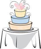 De Cake van het huwelijk op een lijst Stock Afbeelding