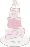 De Cake van het huwelijk in roze Stock Afbeeldingen