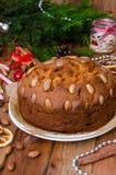 De cake van het Kerstmisfruit met gedroogd fruit en amandelen De cake van Dundee royalty-vrije stock afbeeldingen
