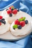 De cake van het Pavlovaschuimgebakje met room en bes Stock Foto's