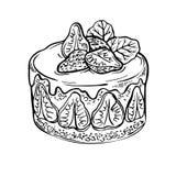 De cake van het schetsfruit, bes de hand getrokken cake van de inktaardbei Royalty-vrije Stock Afbeeldingen