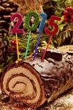 de cake van het yulelogboek van 2015 Stock Fotografie