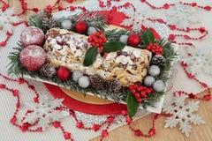 De Cake van Kerstmis van Stollen Stock Foto's