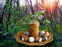 De cake en de eieren van Pasen Royalty-vrije Stock Foto