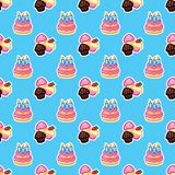 De cake van de patroonverjaardag met kaarsen voor vieringspartij, cake, banketbakkerij cupcakes Gebeurtenis, viering, partij vector illustratie