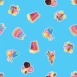 De cake van de patroonverjaardag met kaarsen voor vieringspartij, cake, banketbakkerij cupcakes, kleurrijke feestelijke ballon, stock illustratie