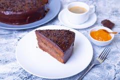 De Cake van Sacher Traditioneel Oostenrijks chocoladedessert stock fotografie