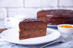 De Cake van Sacher Traditioneel Oostenrijks chocoladedessert stock afbeelding