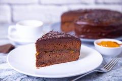 De Cake van Sacher Traditioneel Oostenrijks chocoladedessert stock foto