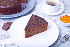 De Cake van Sacher Traditioneel Oostenrijks chocoladedessert royalty-vrije stock foto's