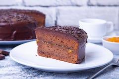 De Cake van Sacher Traditioneel Oostenrijks chocoladedessert royalty-vrije stock afbeeldingen