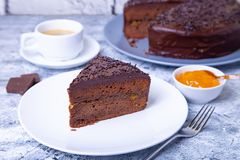 De Cake van Sacher Traditioneel Oostenrijks chocoladedessert royalty-vrije stock foto