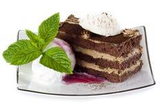 De cake van Tiramisu met roomijs royalty-vrije stock foto's