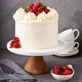 De cake van de vanilleframboos met het witte berijpen stock fotografie