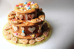 de cake van de verjaardagspeperkoek Stock Fotografie