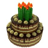 De cake van de Voxelverjaardag Stock Afbeeldingen
