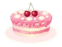 De cake witte achtergrond van de kers Royalty-vrije Stock Foto's